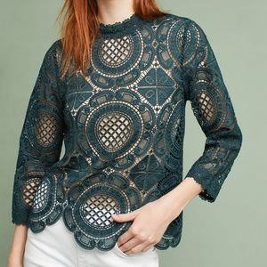 Anthropologie Laced Medallion Top, Size M